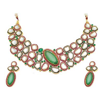 Attractive Design Pink & Green Austrian Diamond Stone Necklace Set