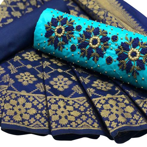 Desiring Sky Blue Colored Partywear Embroidered Cotton Suit