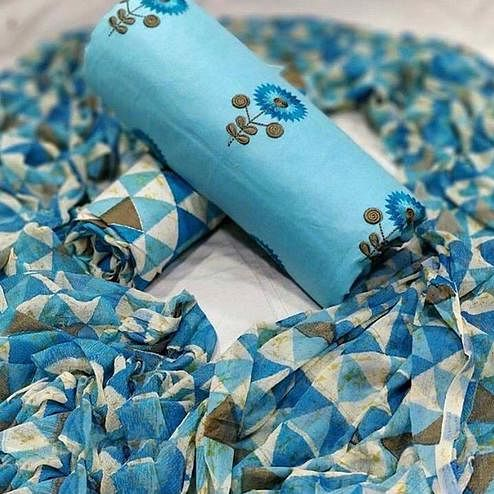 Energetic Sky Blue Colored Partywear Embroidered Cotton Suit