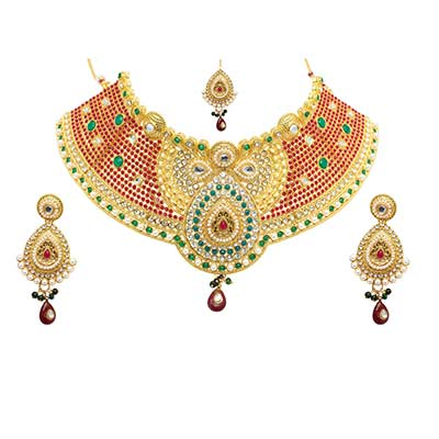 Ethnic Design Austrian Diamond Stone Red Drop Necklace Set with Maang Tikka