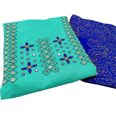 Refreshing Aqua Blue Colored Partywear Embroidered Chanderi Silk Suit