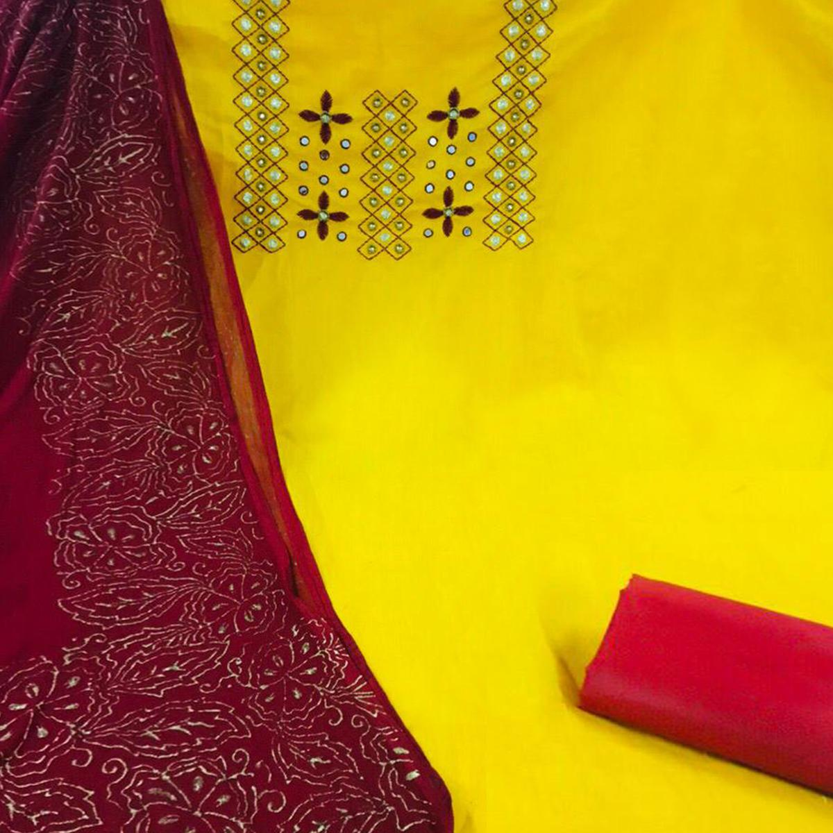 Flamboyant Yellow Colored Partywear Embroidered Chanderi Silk Suit