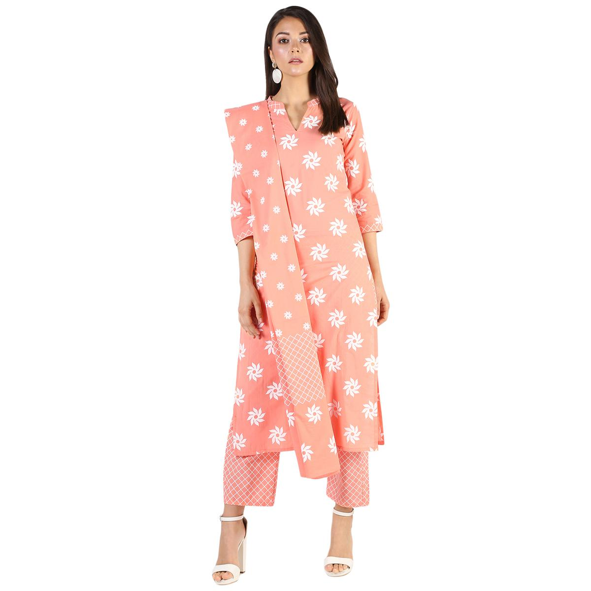 Amazing Peach Colored Casual Wear Block Printed Cotton Kurti-Bottom Set With Dupatta