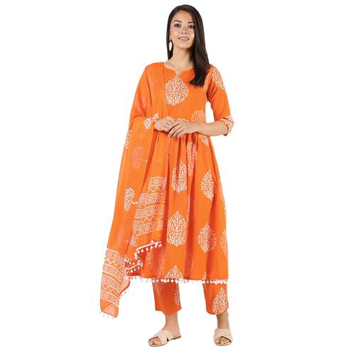 Glorious Orange Colored Casual Wear Block Printed Cotton Kurti-Bottom Set With Dupatta