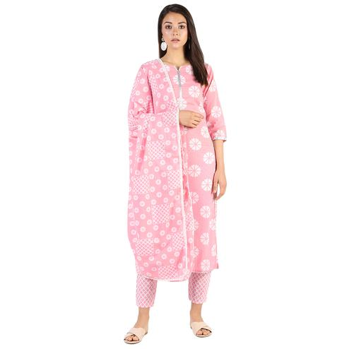 Beautiful Pink Colored Casual Wear Block Printed Cotton Kurti-Bottom Set With Dupatta