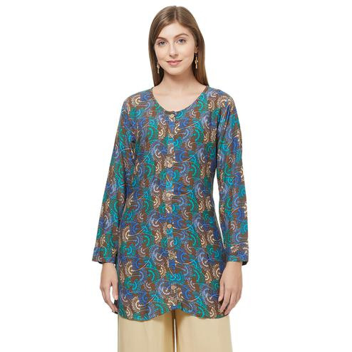 Demanding Multi Colored Casual Printed Rayon Western Top