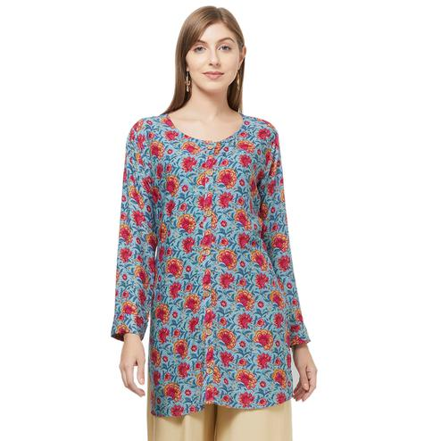 Lovely Gray Colored Casual Printed Rayon Western Top