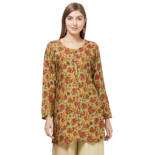 Classy Green Colored Casual Printed Rayon Western Top
