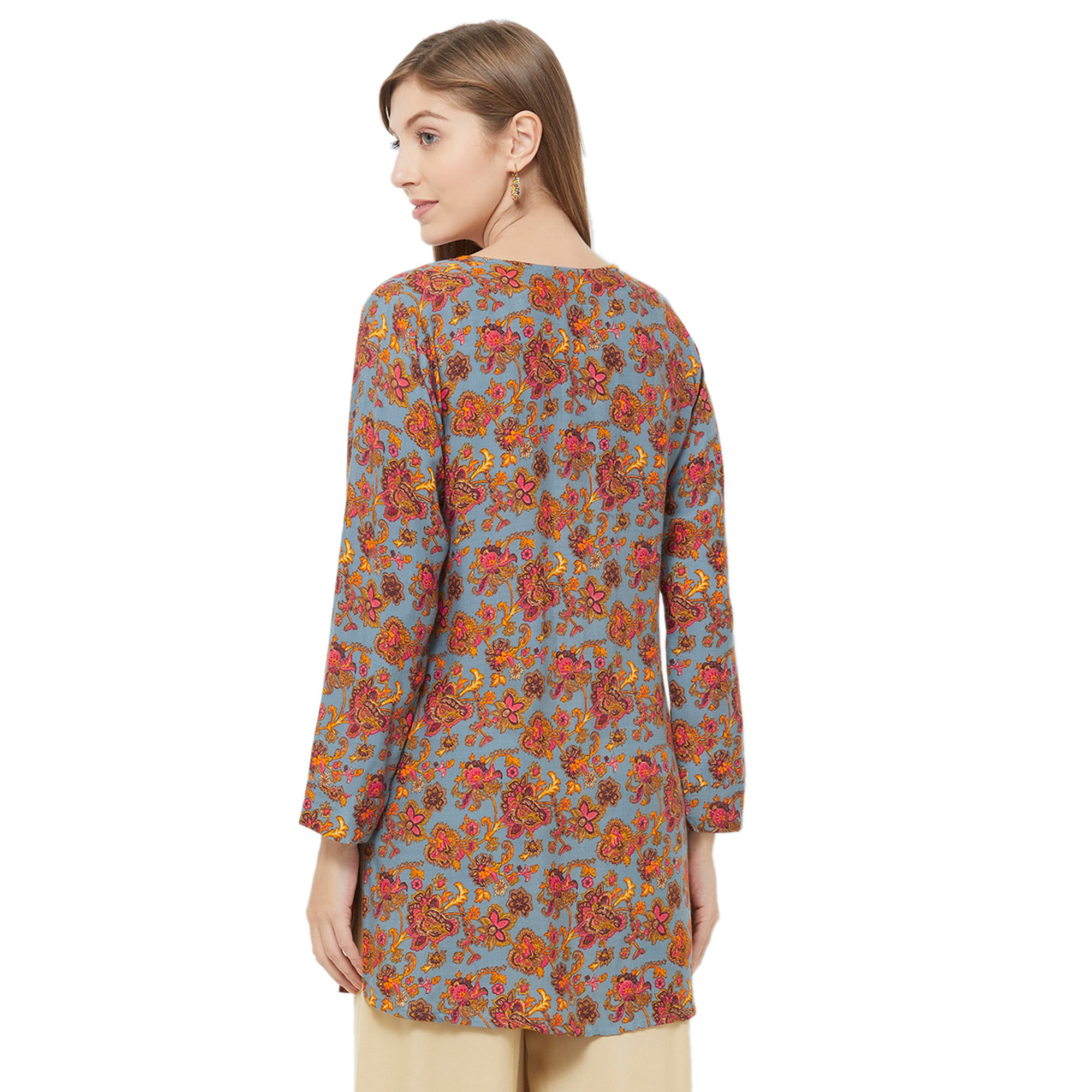Eye-Catching Blue Colored Casual Printed Rayon Western Top