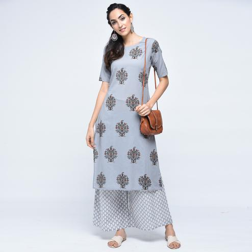 Graceful Gray Colored Casual Printed Cotton Palazzo Suit