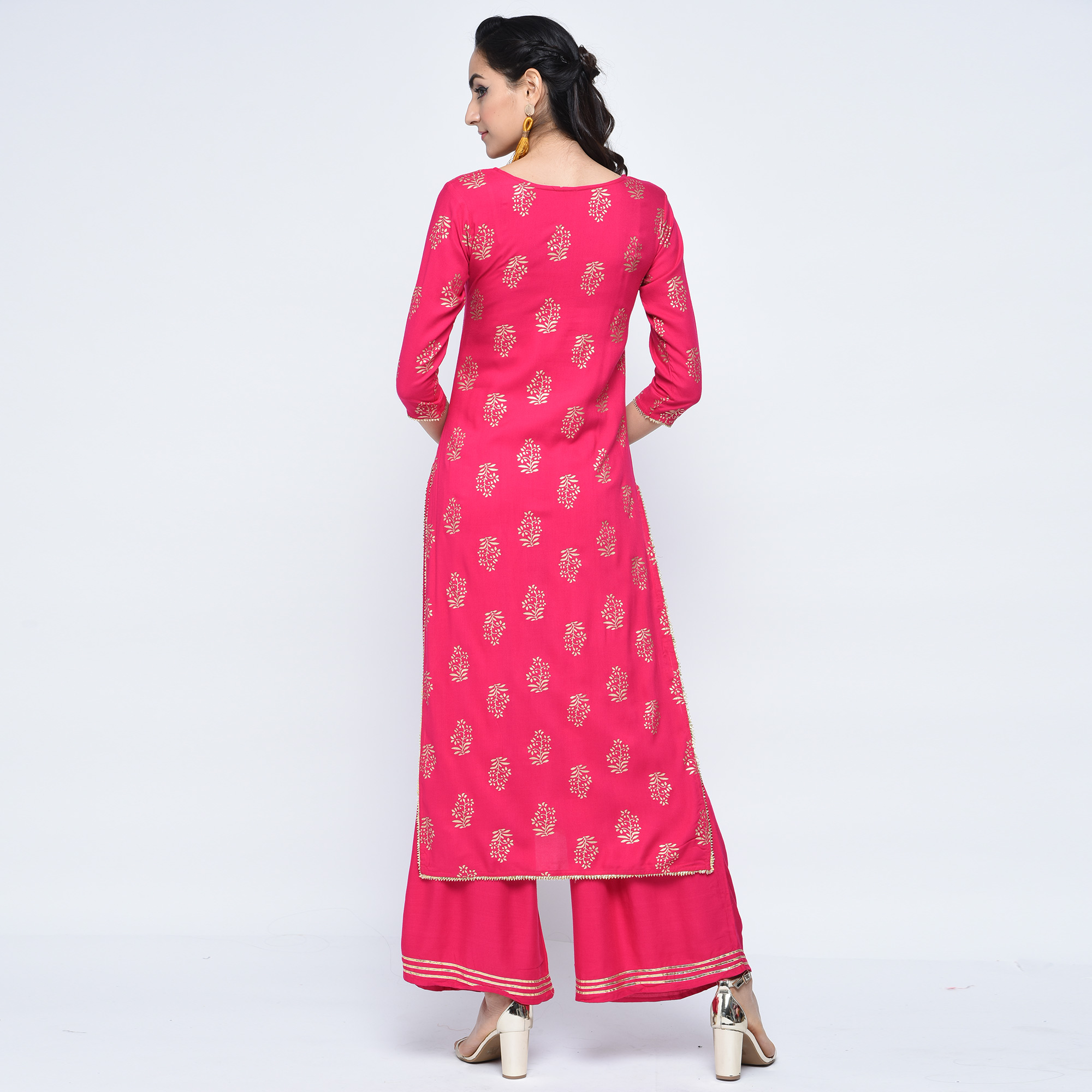 Blooming Pink Colored Casual Printed Rayon Palazzo Suit