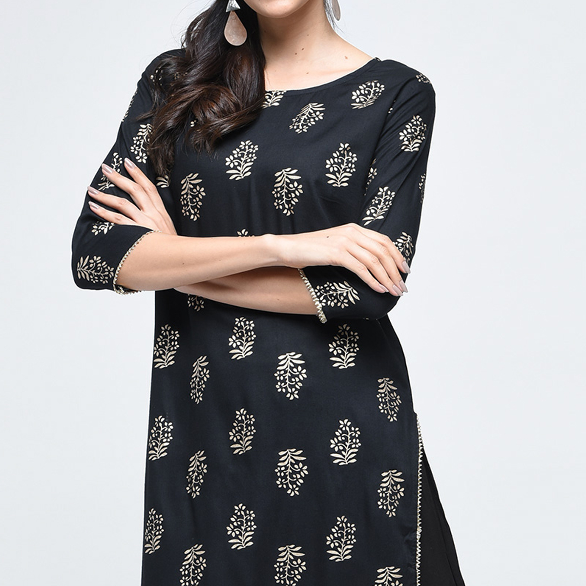 Charming Black Colored Casual Printed Rayon Palazzo Suit