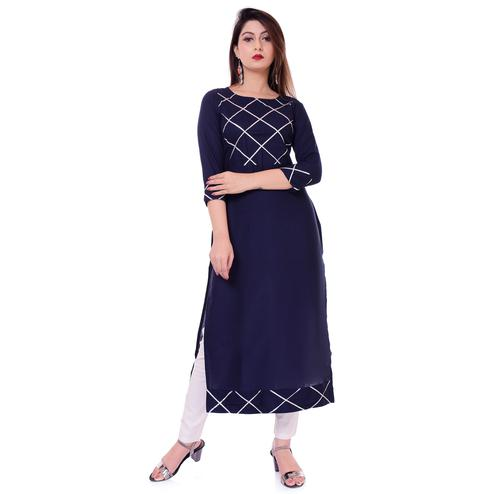 Innovative Navy Blue Colored Casual Printed Viscose Kurti-Pant Set