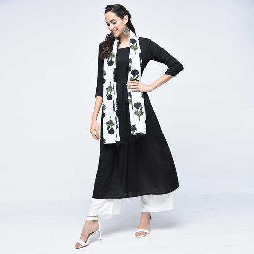 Fantastic Black Colored Casual Wear Viscose Kurti With Dupatta