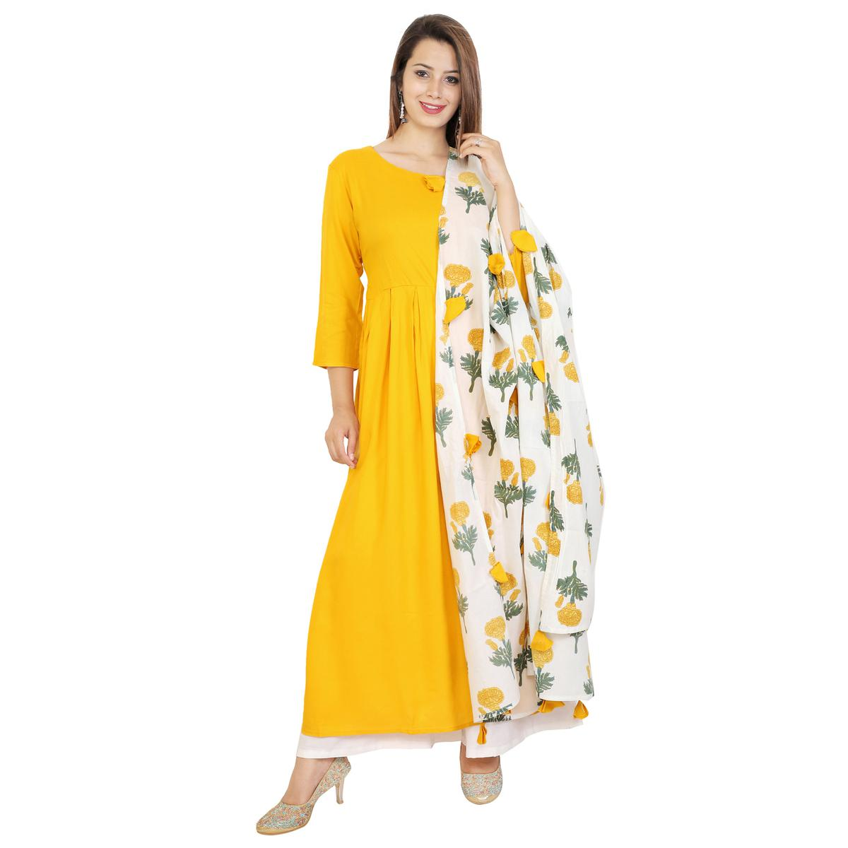 Amazing Yellow Colored Casual Wear Viscose Kurti With Dupatta