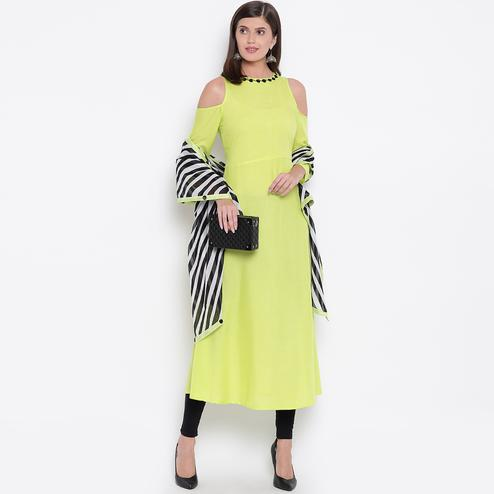 Gorgeous Lemon Green Colored Casual Wear Rayon Kurti-Dupatta Set