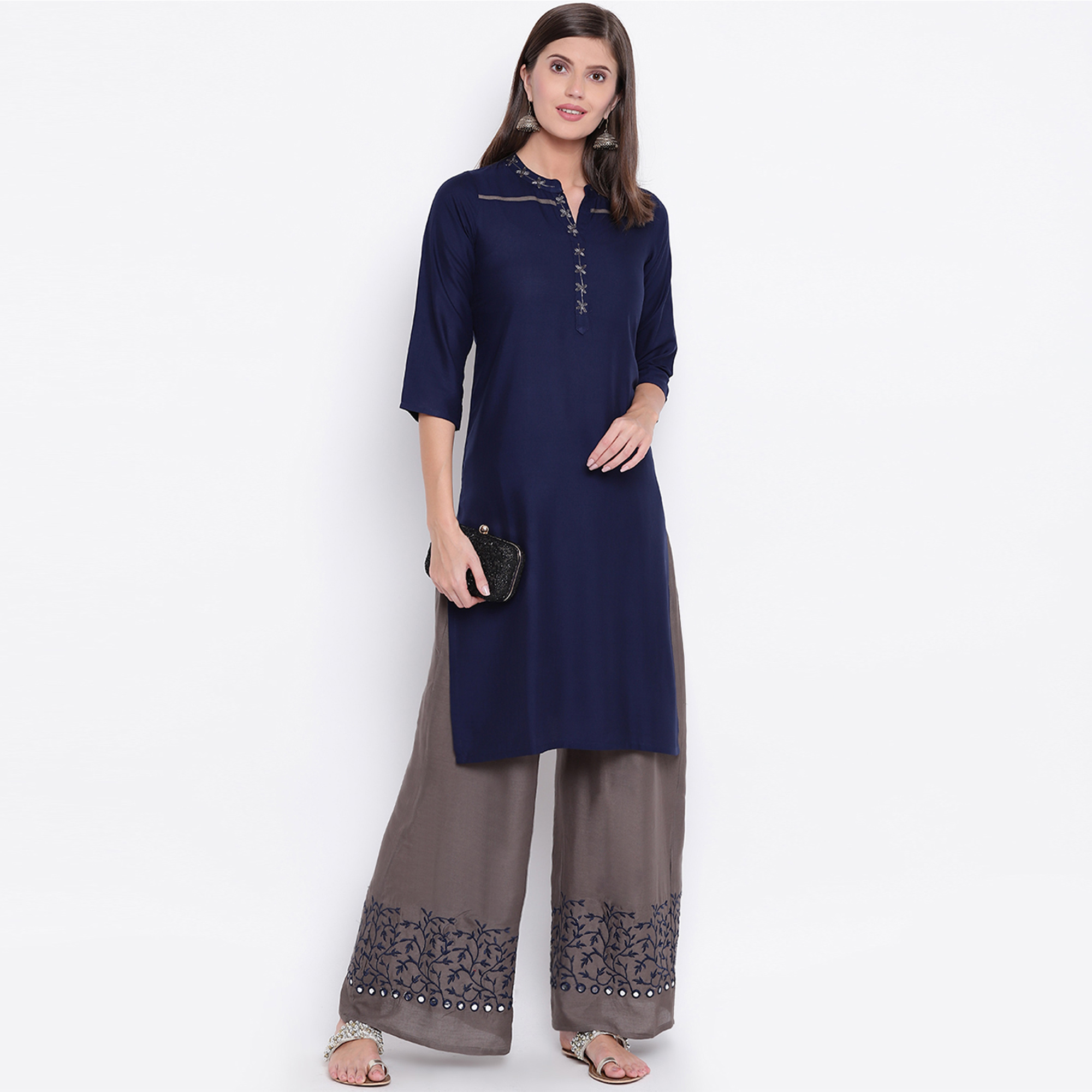 Blissful Navy Blue Colored Partywear Embroidered Rayon Palazzo Suit