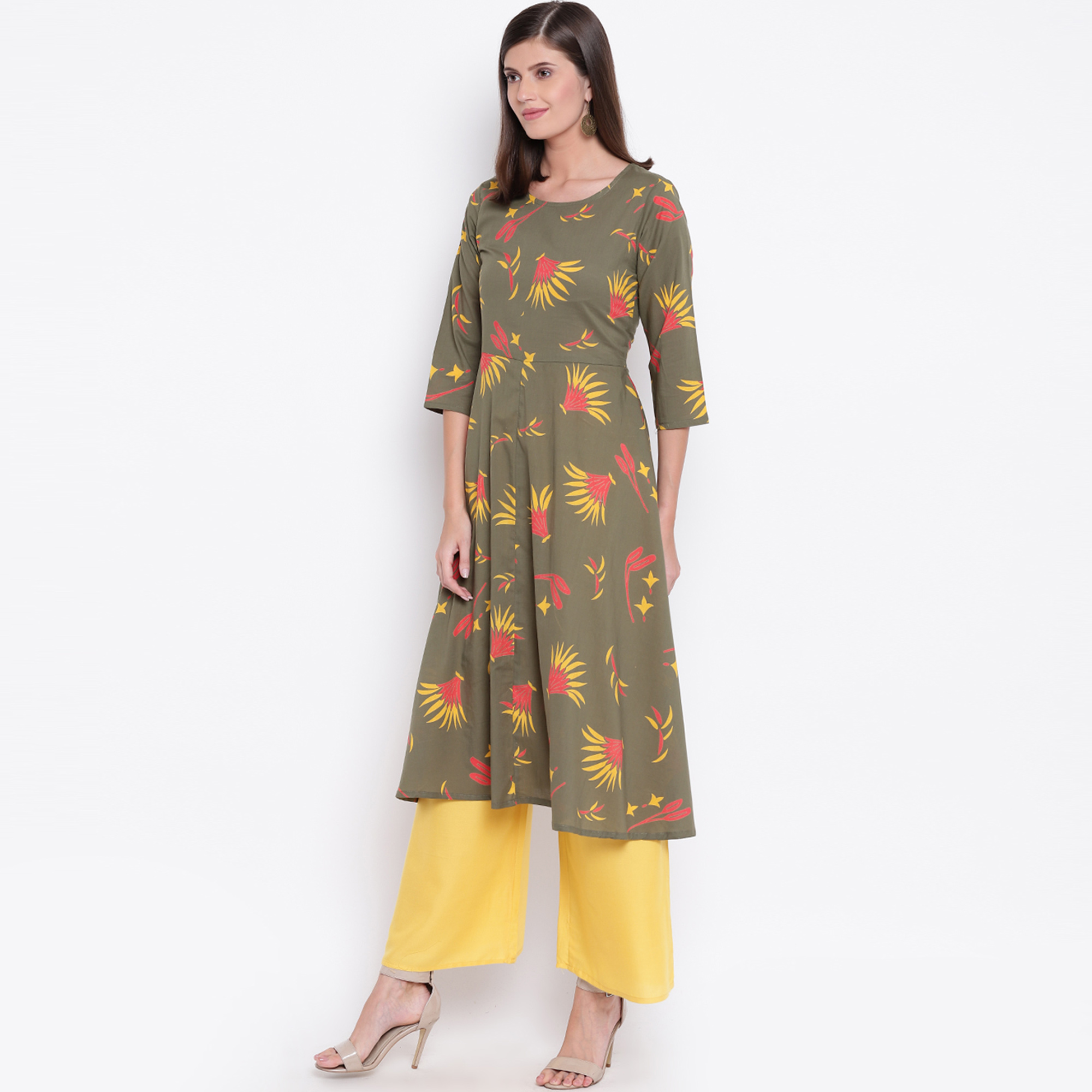 Ideal Olive Green Colored Casual Printed Cotton Palazzo Suit