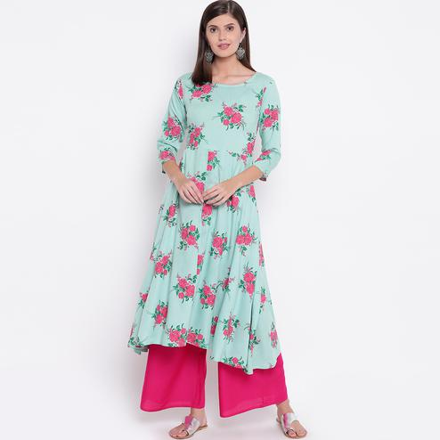 Imposing Aqua Blue Colored Casual Printed Rayon Palazzo Suit