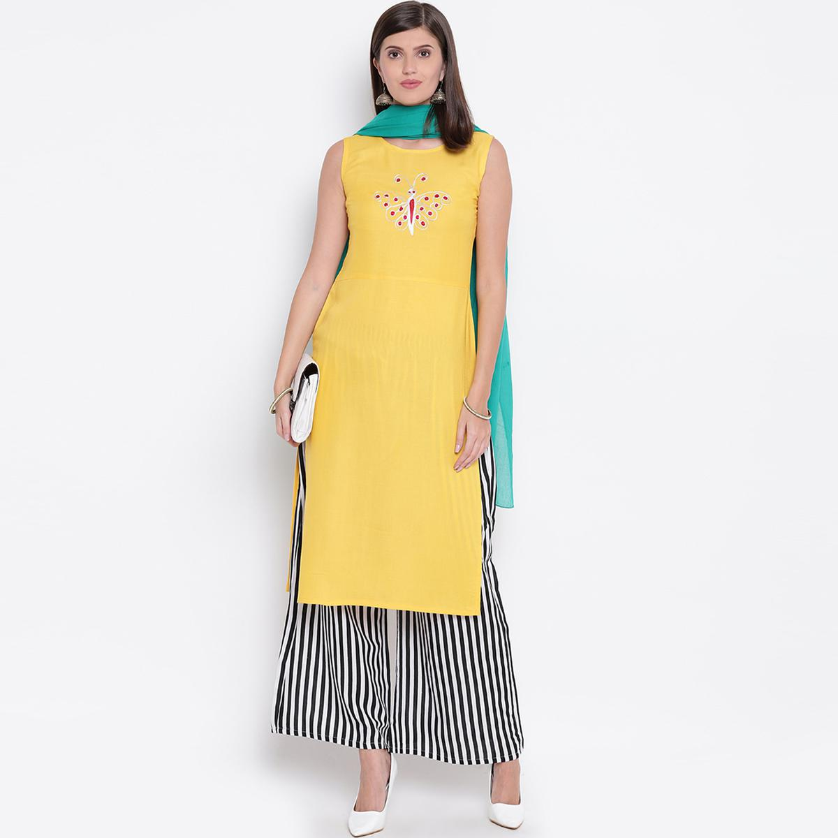 Majesty Yellow Colored Casual Wear Rayon Palazzo Suit