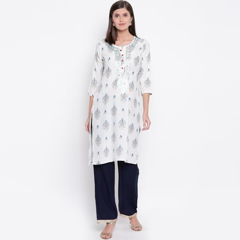 Impressive White Colored Casual Printed Rayon Kurti-bottom Set