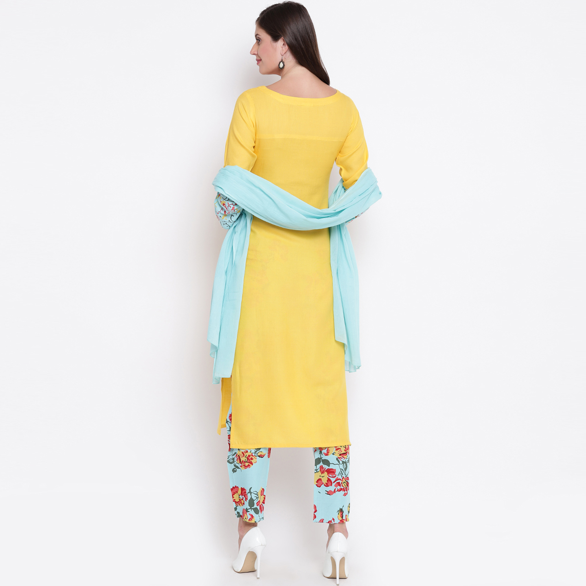 Mesmerising Yellow Colored Casual Wear Rayon Kurti-Bottom Set With Dupatta
