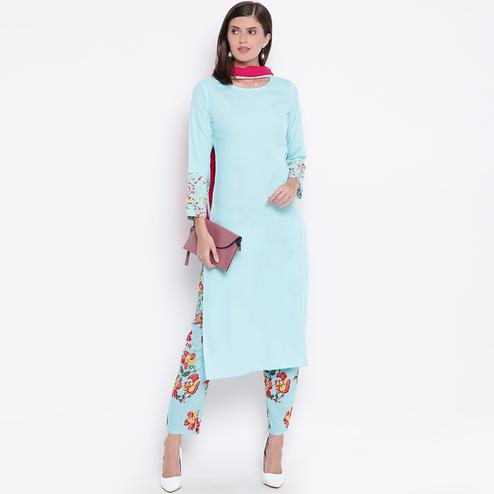Pleasance Aqua Blue Colored Casual Wear Rayon Kurti-Bottom Set With Dupatta