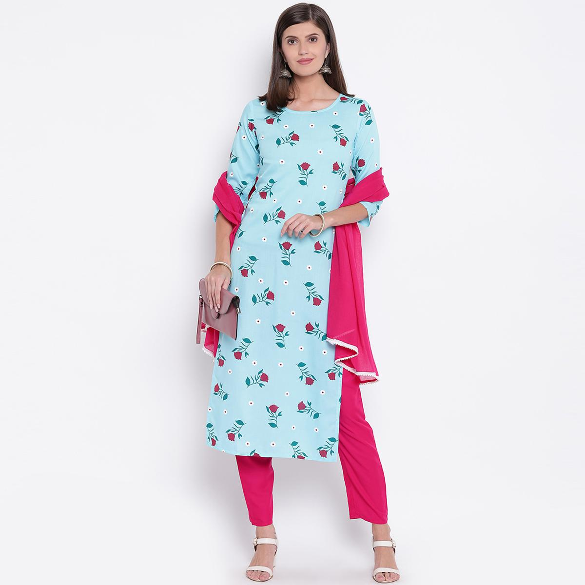 Breathtaking Aqua Blue Colored Casual Printed Rayon Kurti-Bottom Set With Dupatta