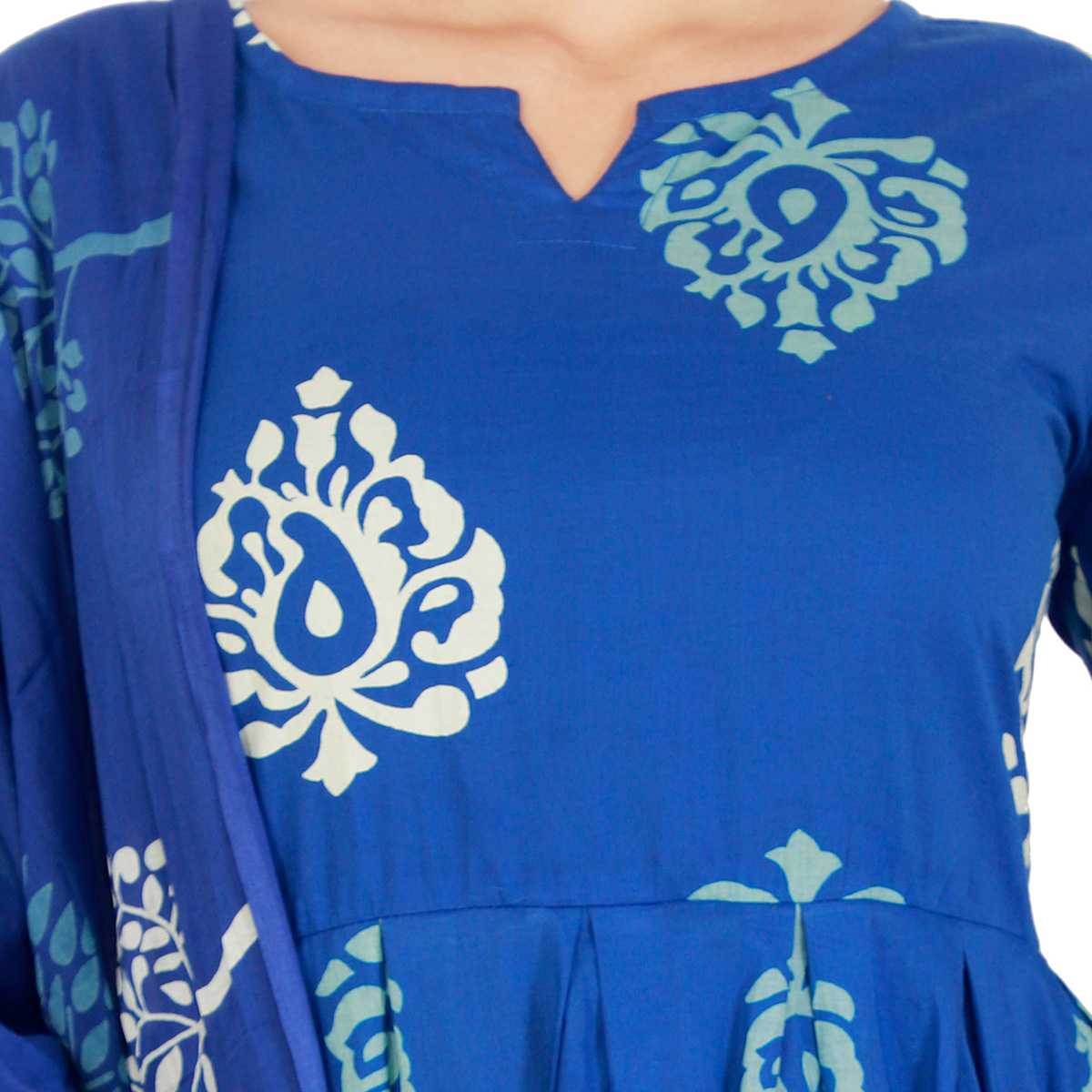 Ethnic Blue Colored Casual Printed Cotton Kurti-Bottom Set With Dupatta