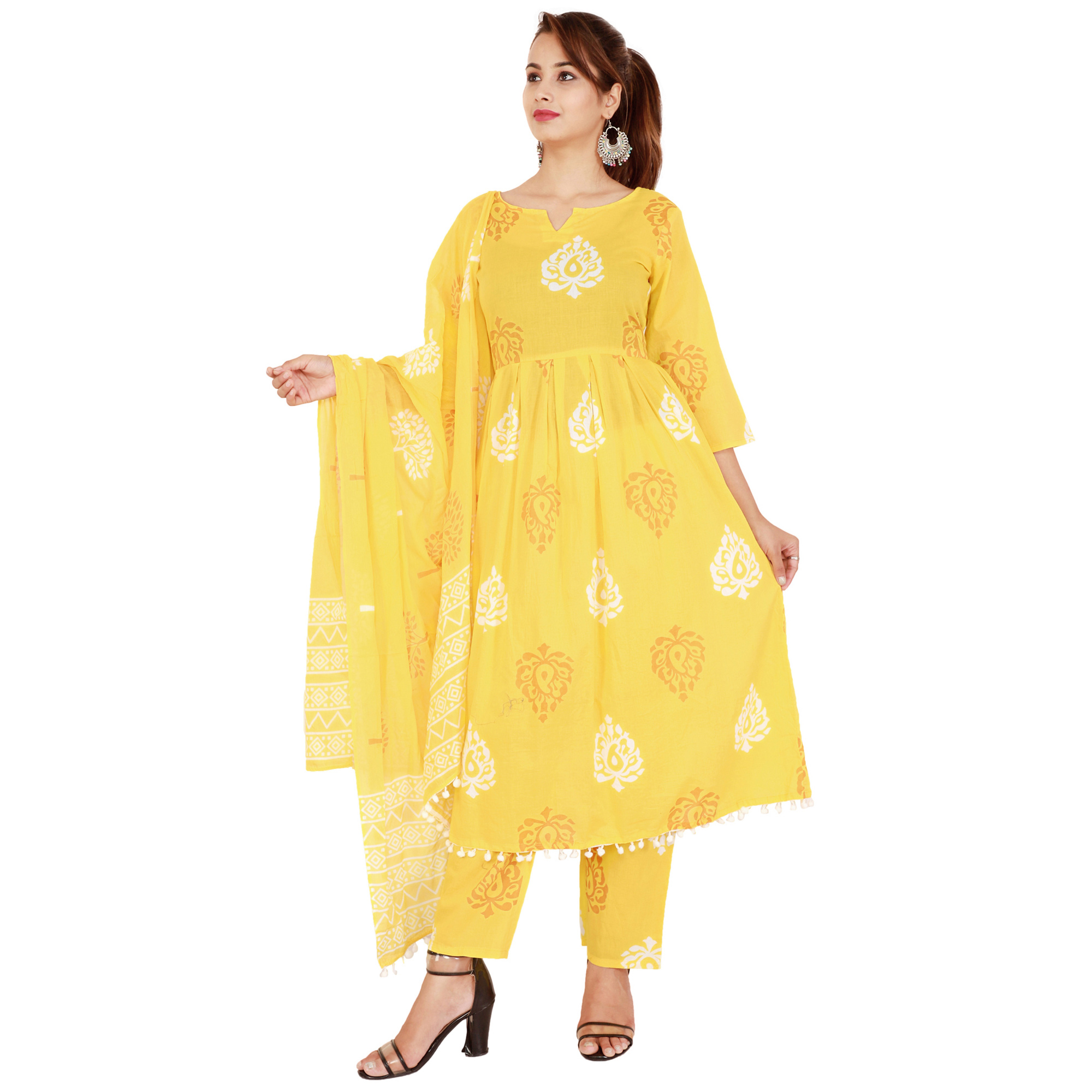 Preferable Yellow Colored Casual Printed Cotton Kurti-Bottom Set With Dupatta