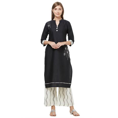Captivating Black Colored Casual Embroidered Cotton Kurti-Palazzo Set