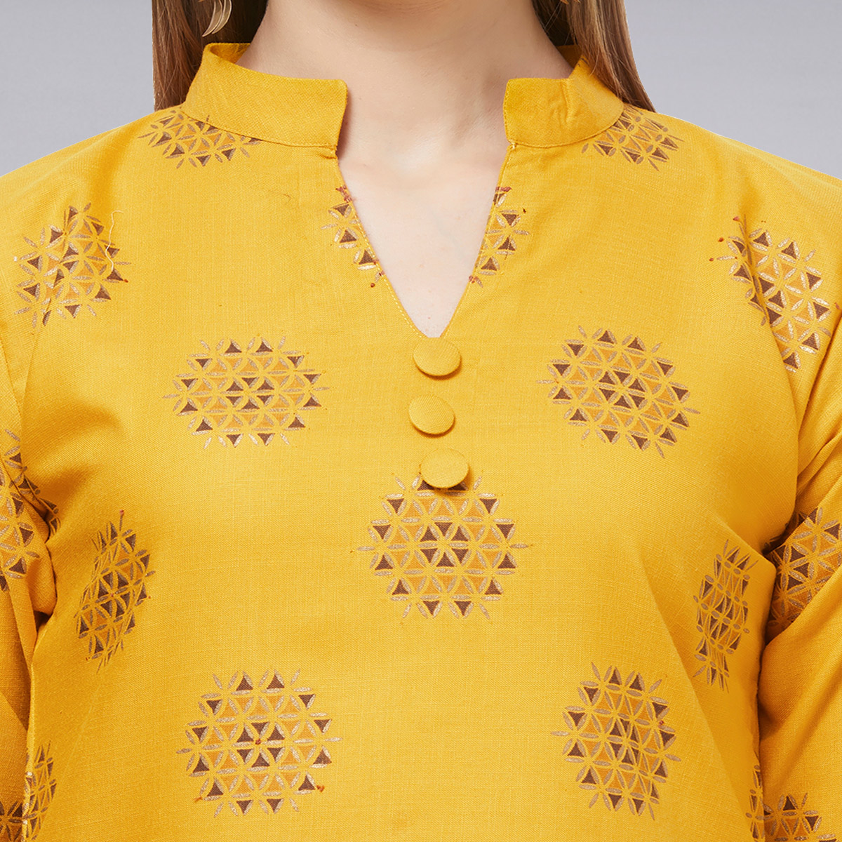 Eye-catching Yellow Colored Casual Printed Cotton Kurti