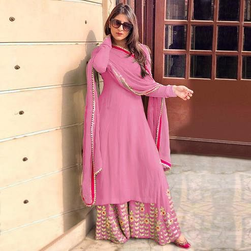 Appealing Pink Colored Partywear Embroidered Georgette Palazzo Suit