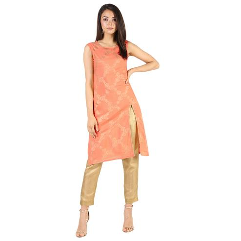 Adorable Peach Colored Partywear Printed Rayon Kurti