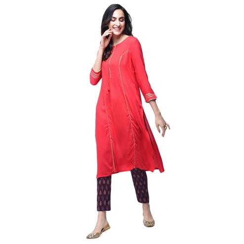 Glorious Red Colored Partywear Rayon Kurti