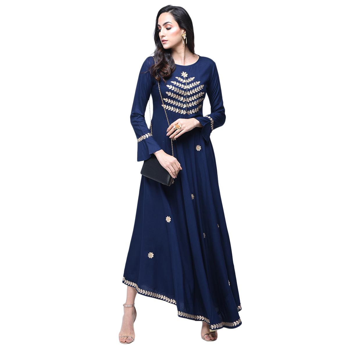 Beautiful Navy Blue Colored Partywear Embroidered Rayon Kurti