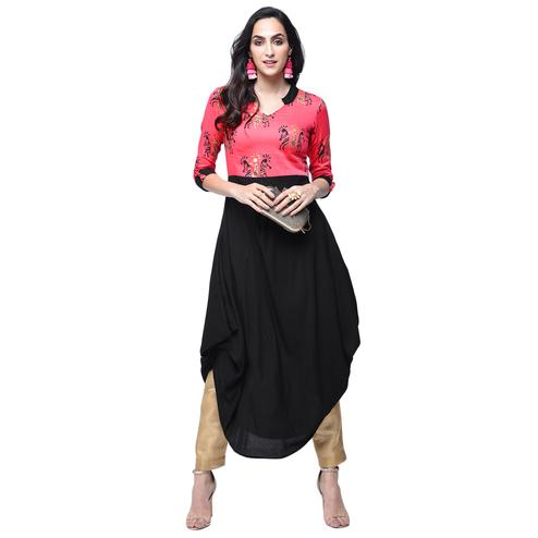 Graceful Pink-Black Colored Partywear Printed Rayon Kurti