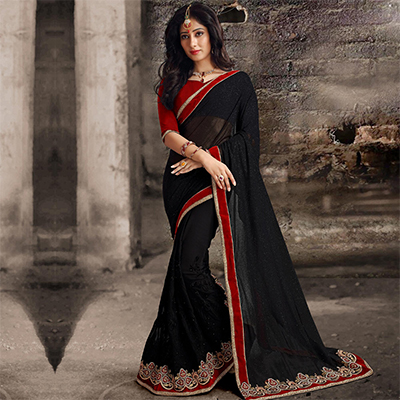 Elegant Black Patch Work Saree