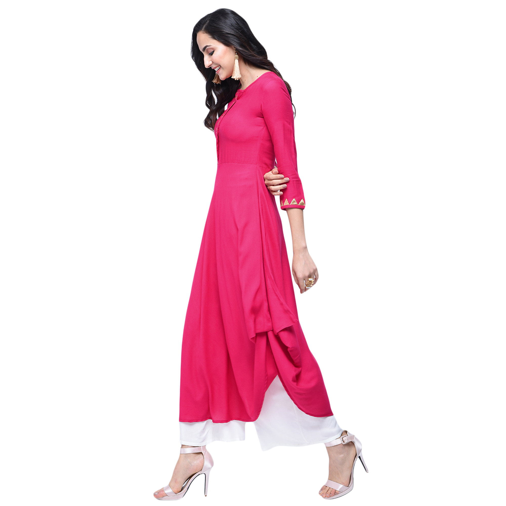 Blooming Pink Colored Partywear Rayon Kurti