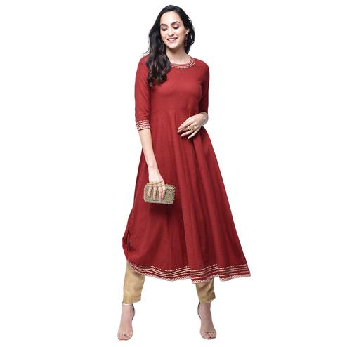 Charming Maroon Colored Partywear Cotton Slub Kurti