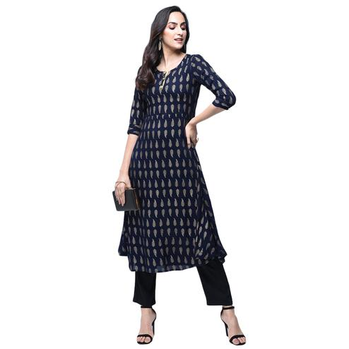 Jazzy Navy Blue Colored Partywear Printed Rayon Kurti