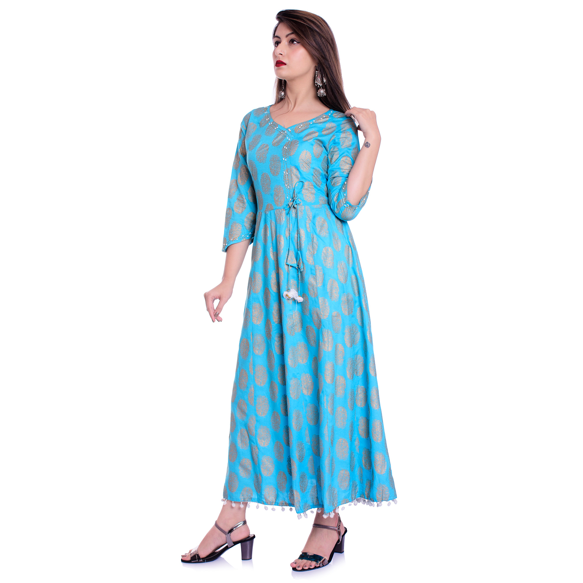 Delightful Sky Blue Colored Partywear Printed Rayon Kurti