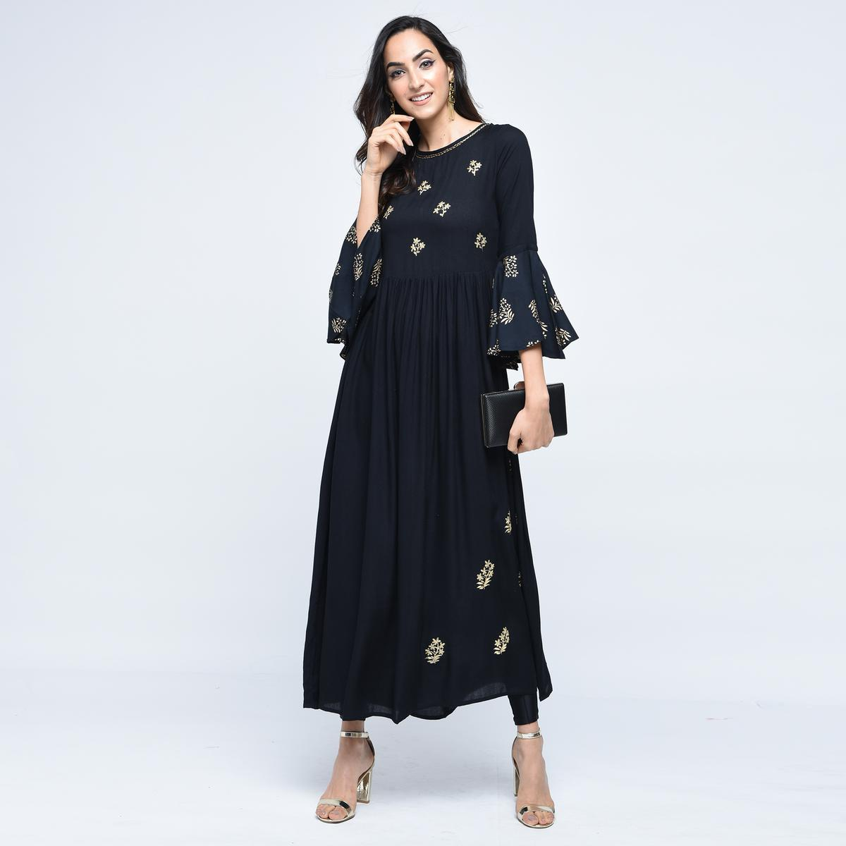 Stylum - Captivating Black Colored Partywear Embroidered Rayon Kurti