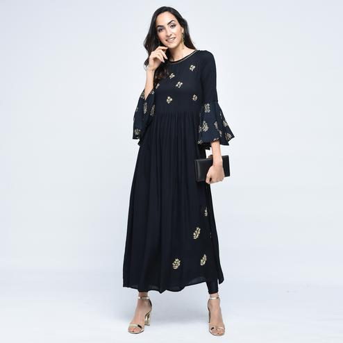 Captivating Black Colored Partywear Embroidered Rayon Kurti