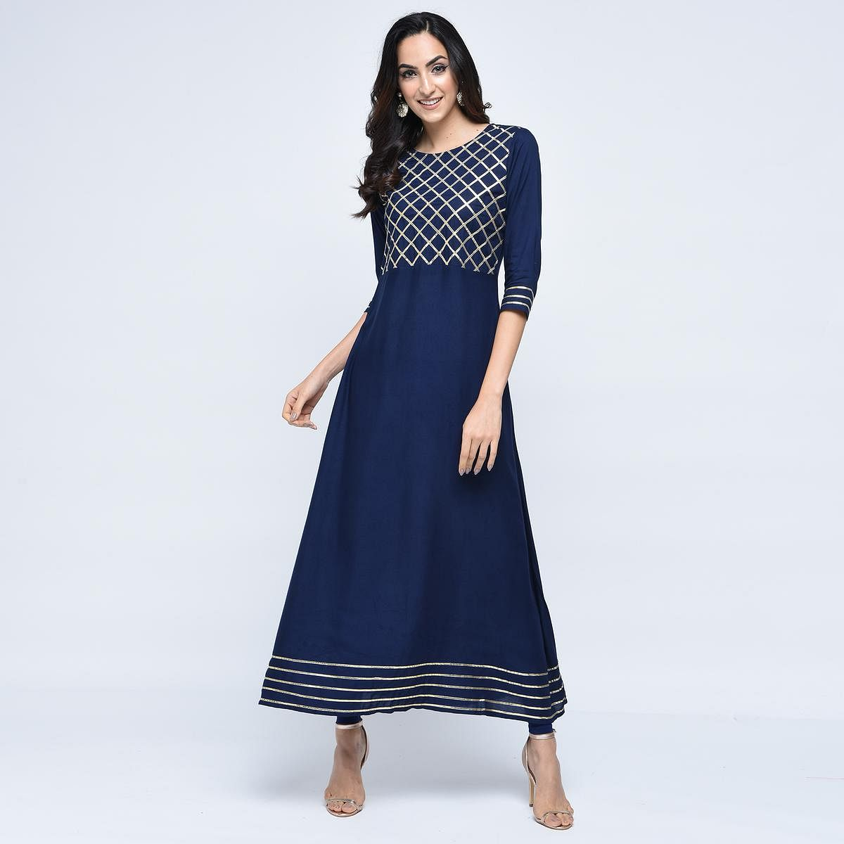 Eye-catching Navy Blue Colored Partywear Rayon Kurti