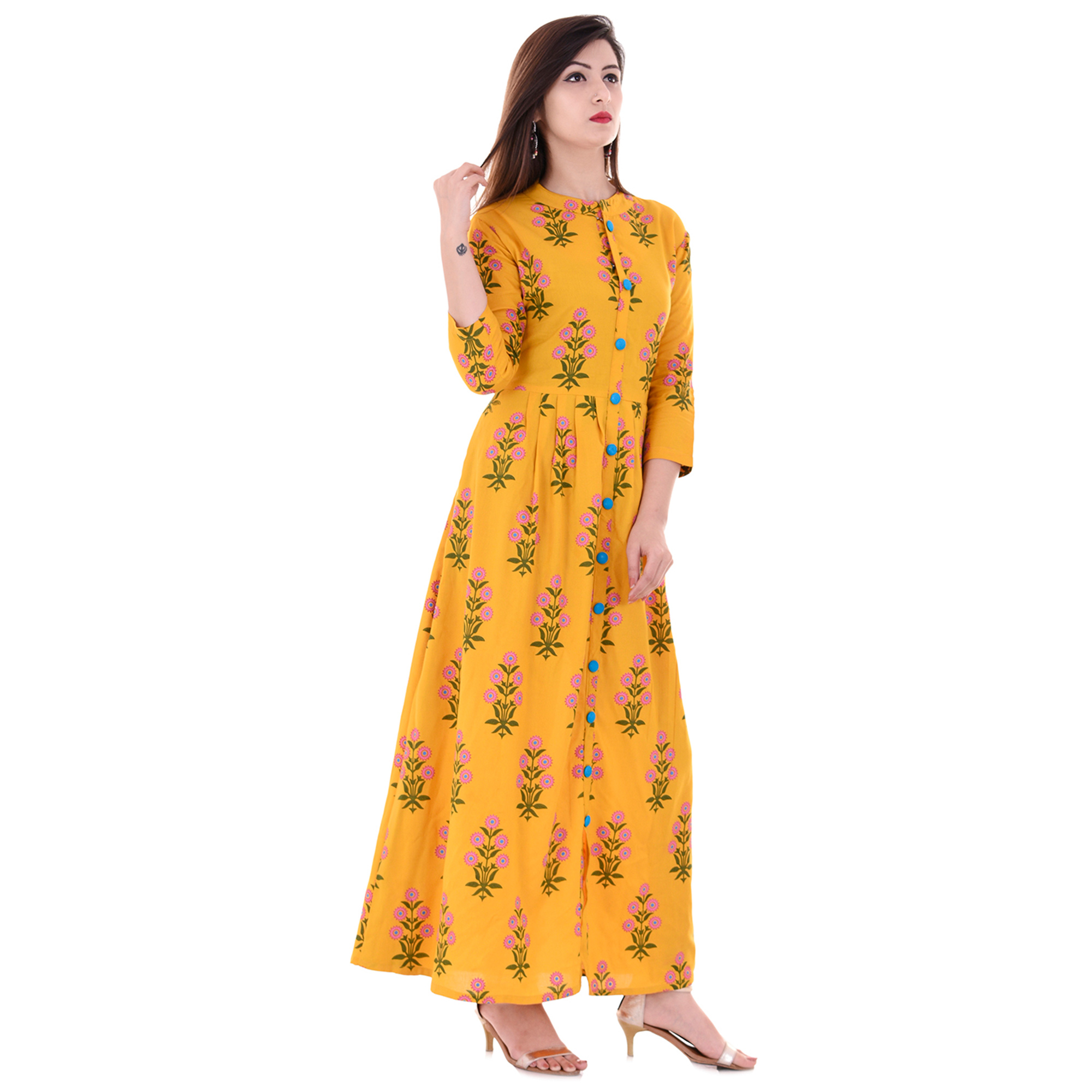 Fantastic Yellow Colored Partywear Printed Rayon Kurti