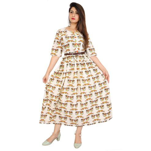 Amazing Off-white Colored Partywear Printed Cotton Slub Kurti