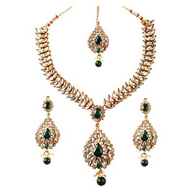 Green Kundan Austrian Stone Drop Gold Finish Necklace Sets