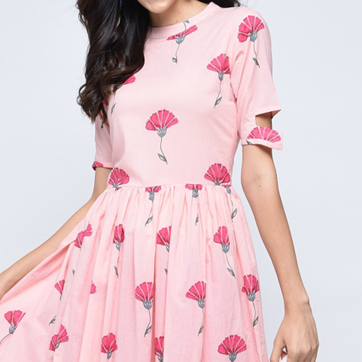 Gorgeous Pink Colored Partywear Printed Cotton Kurti