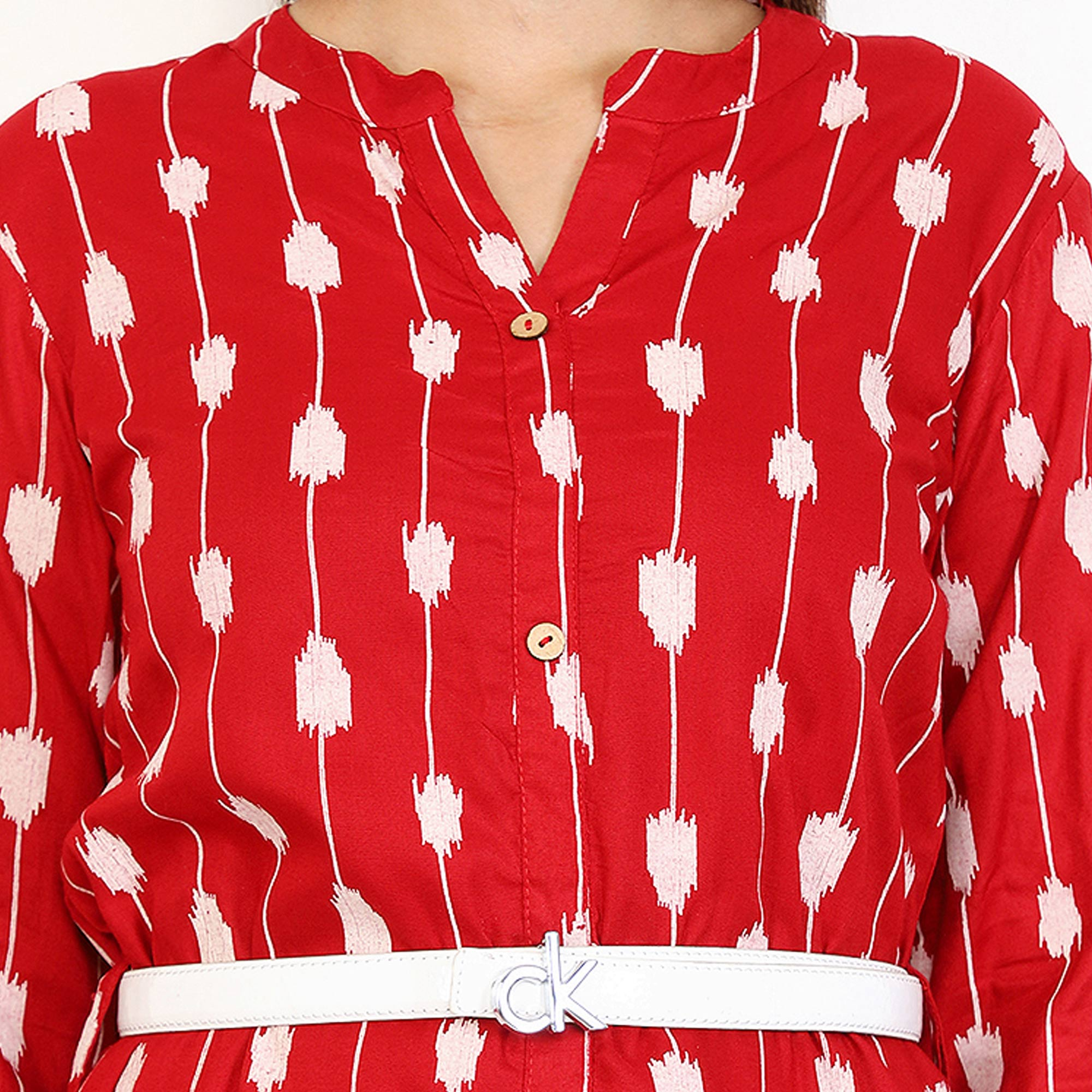 Blissful Red Colored Partywear Printed Rayon Kurti